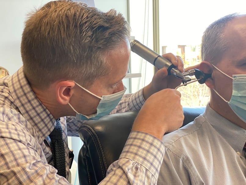 Man having his hearing tested